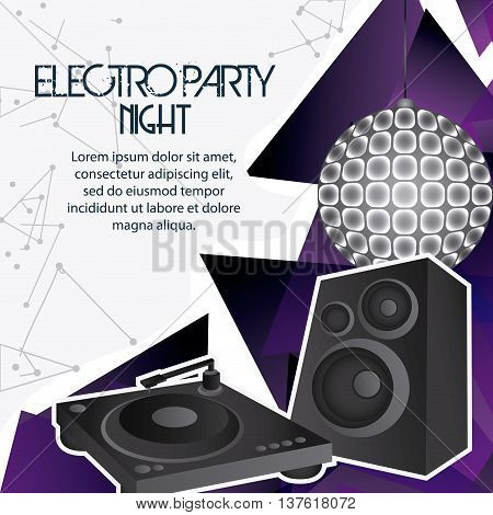 Electro and Dance Party represented by speaker icon. Colorfull and Flat vector illustration