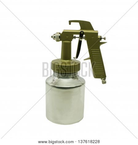 New metal brilliant Spray gun on white background