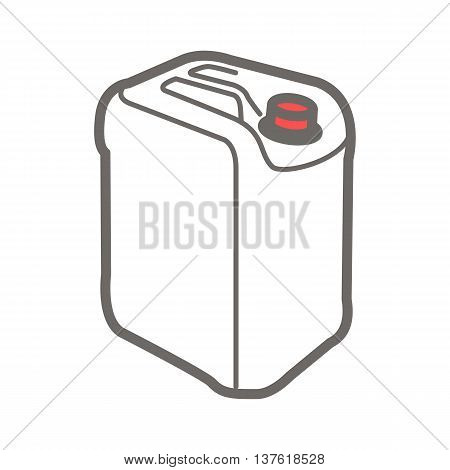 Vector colorful illustration of jerrycan isolated on white background.