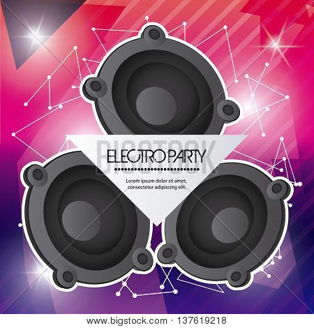 Electro and Dance Party represented by speaker icon over striped background. Colorfull and Flat vector illustration