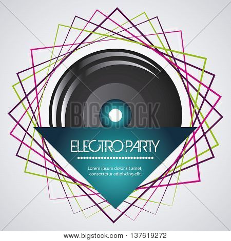 Electro and Dance Party represented by speaker icon with geometry shape design. Colorfull and Flat vector illustration