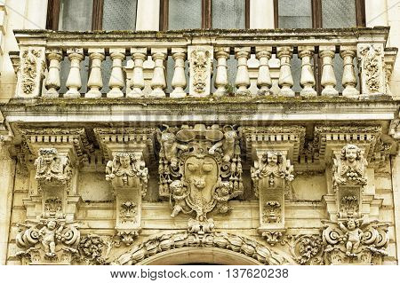 Lecce the seminary palace architectural detail baroque