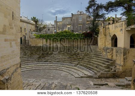 Lecce ancient Roman theater in the old town
