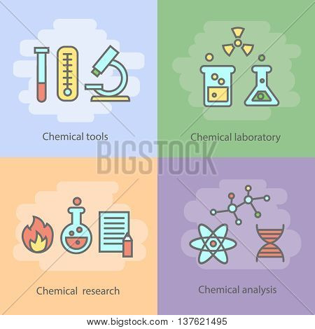 Chemical laboratory concept with instrumentation glassware burners and experiments reactions and research isolated illustration