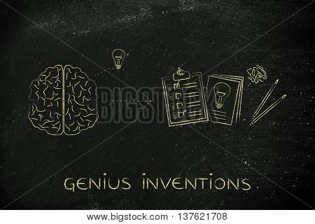 Brain With Idea To Write Down On Paper, Genius Inventions