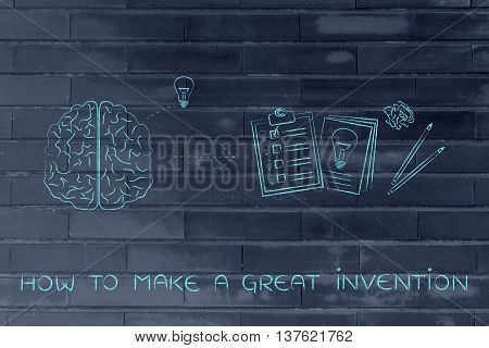 Brain With Idea To Write Down On Paper, How To Make A Great Invention