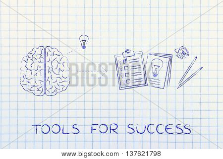Brain With Idea To Write Down On Paper, Tools For Success