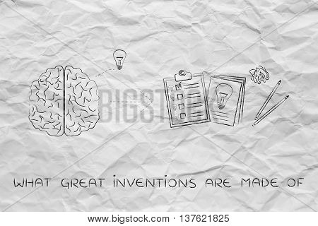 Brain With Idea To Write Down On Paper, What Great Inventions Are Made Of