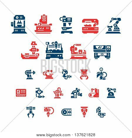 Set color icons of machine tool, robotic industry isolated on white. Vector illustration