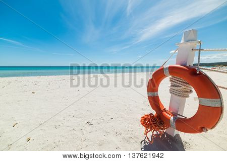 life buoy in La Cinta beach Sardinia