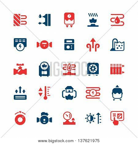 Set color icons of heating isolated on white. Vector illustration