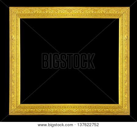 The Gold frame on black background texture