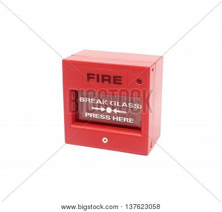 The Red fire alarm on white background