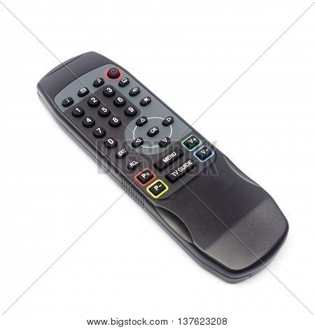 The TV remote control in background texture.