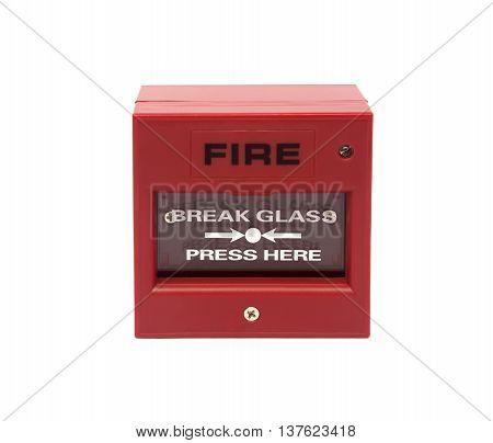 The system Red fire alarm on white background.