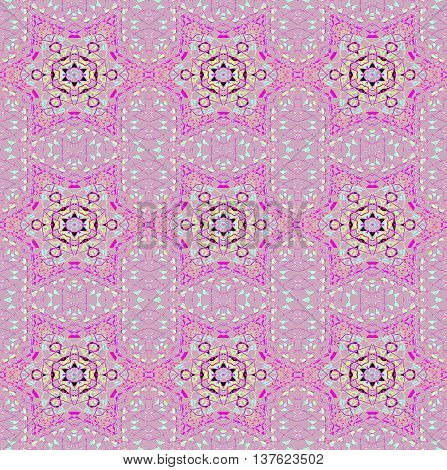 Abstract geometric seamless background. Delicate regular stars pattern magenta and aquamarine on pastel violet, ornate and extensive.