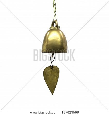 The Golden bell isolated on white background texture.