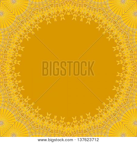 Abstract geometric seamless background, single color. Round yellow copy space framed with delicate lace pattern in yellow shades, ornate and dreamy.