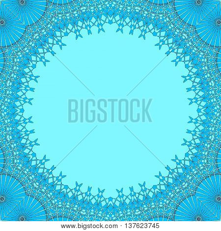 Abstract geometric seamless background. Round light blue copy space framed with delicate azure blue lace pattern, ornate and dreamy.