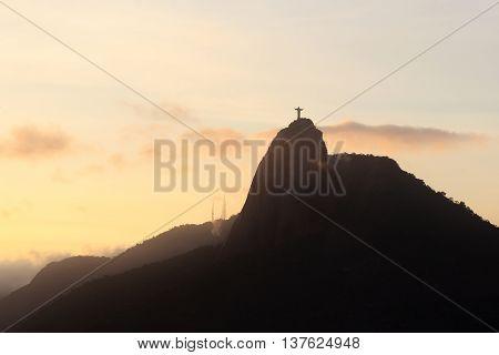 Sunset Mountain Corcovado Rio de Janeiro Brazil. Selective focus