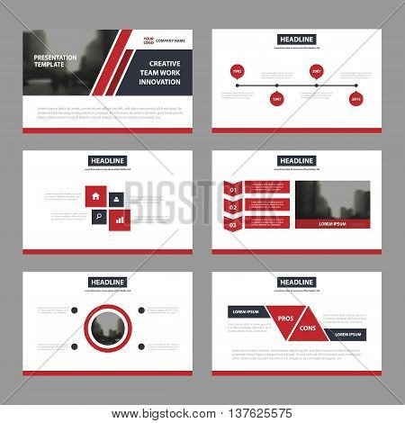 Red black Abstract presentation templates Infographic elements template flat design set for annual report brochure flyer leaflet marketing advertising banner template