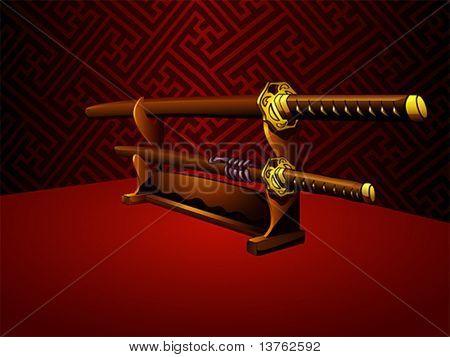 Japanese katana swords at the traditional room