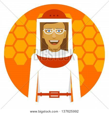 Beekeeping. Smiling beekeeper woman on a round emblem.