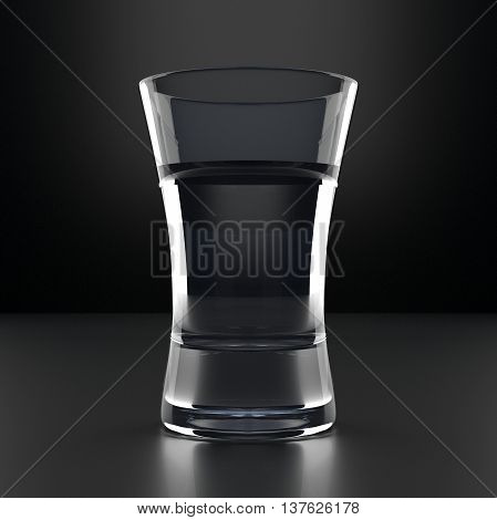 Vodka Glass with vodka shot. Black background. Alcoholic cocktail glassware. 3D illustration.
