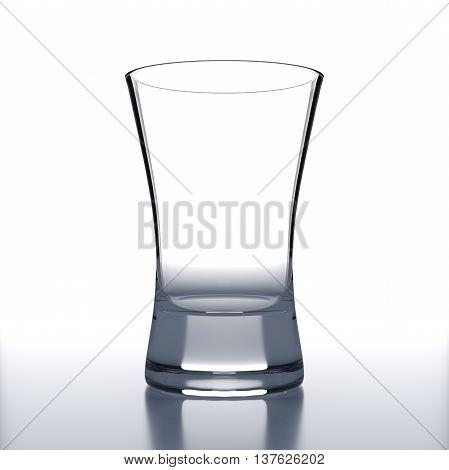 Empty Vodka Glass on white background. Alcoholic cocktail glassware. 3D illustration.