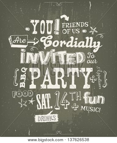 Illustration of a fun party invitation poster with crafted hand lettering text on a blackboard background for bbq holidays neighbours and friends events