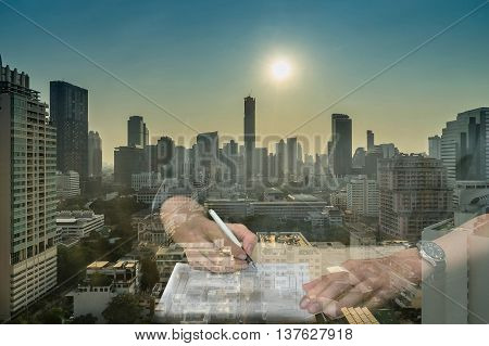 double exposure of sign contract and cityscape for construction