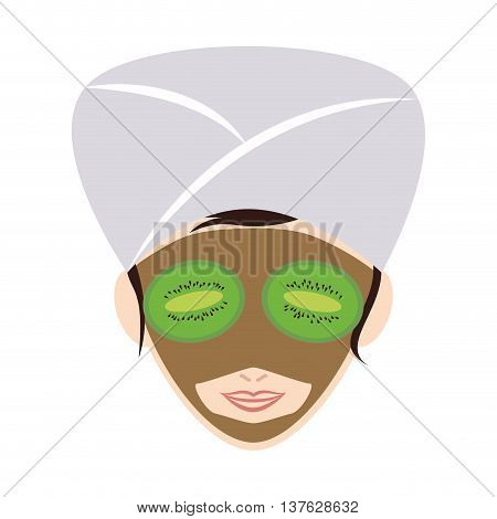 Spa center concept represented by woman cartoon with towel and face mask icon. Isolated and flat illustration