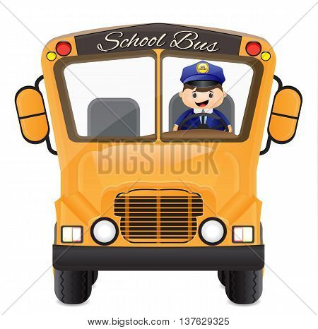 cartoon bus driver driving his school bus