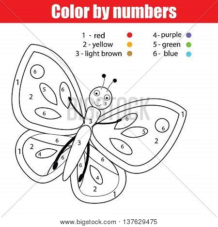 Coloring page with butterfly. Color by numbers educational children game, drawing kids activity, printable sheet