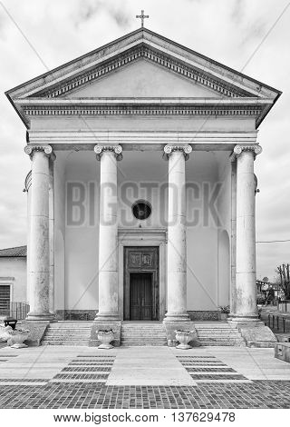 Church in classical style with white colonnade.