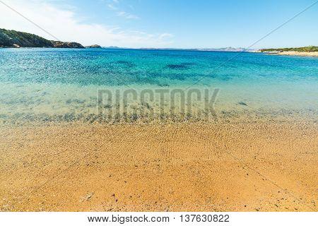 golden shore in Cala del Faro beach Sardinia