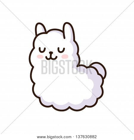 Cute cartoon llama vector illustration. Adorable white alpaca.