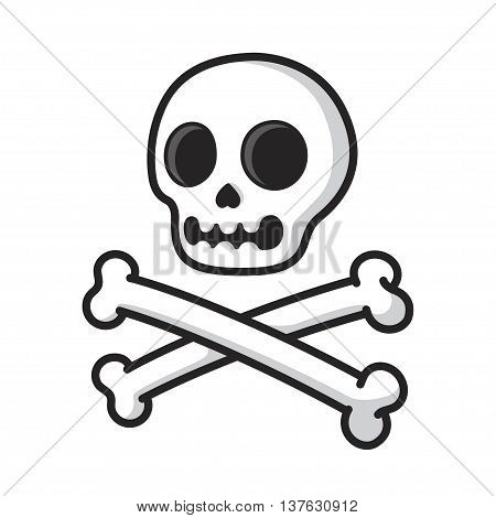 Simple cartoon skull and crossbones isolated on white. Modern comic style vector illustration.
