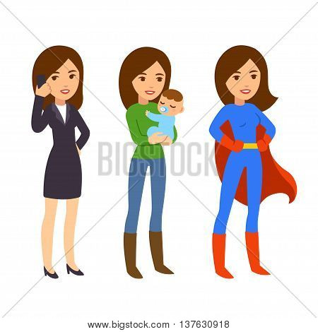 Superwoman concept. Mom with baby businesswoman on phone and in superhero costume. Funny life and work balance illustration.