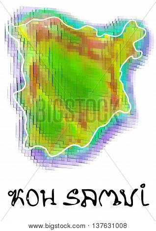 koh samui. abstract map isolated on white background