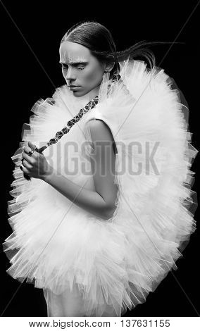 Model, posing, winter, emotion. shoot editorial hairstyle tulle bride woman fashion
