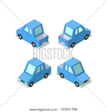 Vector isometric icon set or infographic element set representing private cars cartoon pickup car with front and rear views.