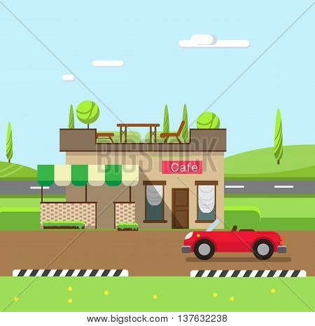 Stock vector illustration city street with cafe flat style element for infographic website icon games motion design video