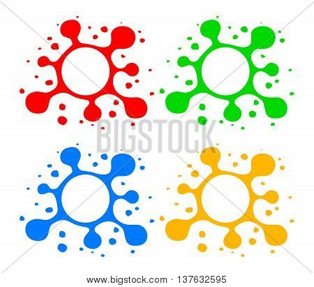 Stylized blots with splashes. Hand drawn blots with blank space in center. Blot symbols in red green blue and yellow colors isolated on white. Blot design elements. Vector illustration in EPS8 format.