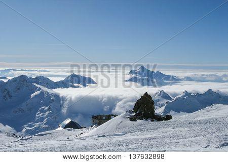 Beautiful scenery mountain massif on the North Caucasus on winter resort