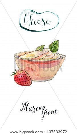 Fresh homemade cheese mascarpone in a bowl with strawberry and peppermint hand drawn - watercolor Illustration