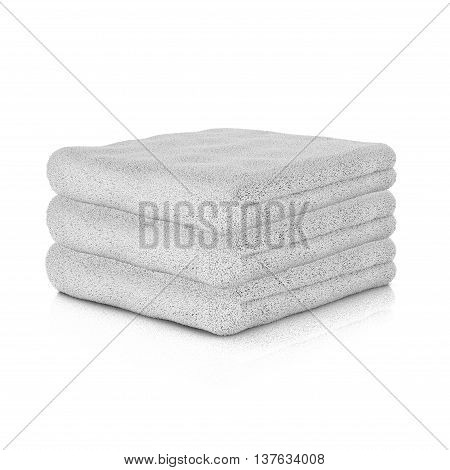 Three white folded towels. 3d rendering illustration