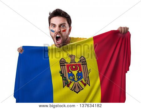 Fan holding the flag of Moldova