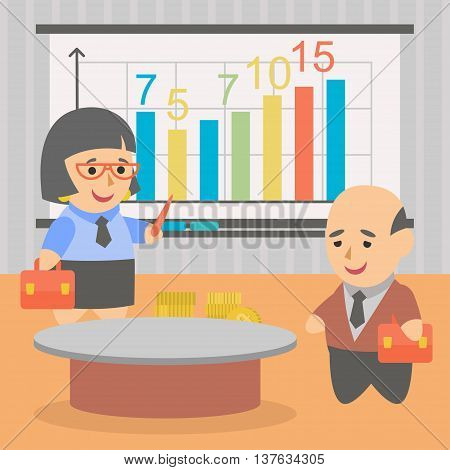 Vector clipart discussion of business prospects for further business development