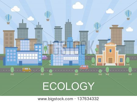Vector clipart ecology friendly nature of the city without pollution